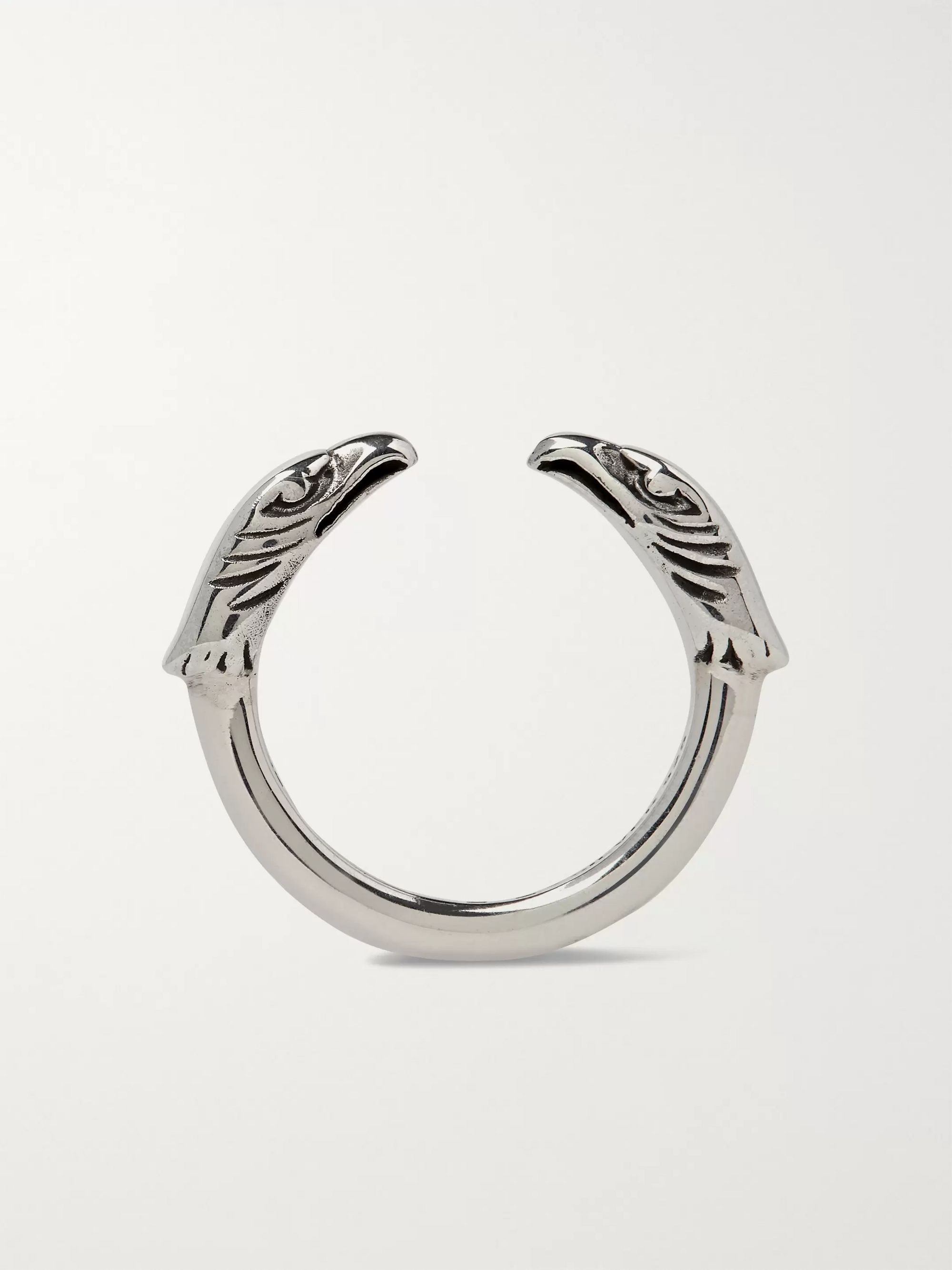 MAPLE Eagle Head Engraved Sterling Silver Ring