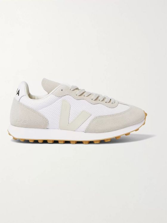 Veja Rio Branco Leather-Trimmed Suede and Alveomesh Sneakers