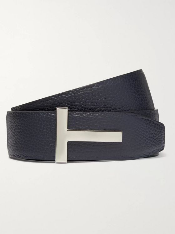 TOM FORD 4cm Black and Navy Reversible Full-Grain Leather Belt