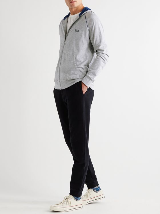 Hugo Boss Logo-Embroidered Melangé Stretch-Cotton Jersey Zip-Up Hoodie
