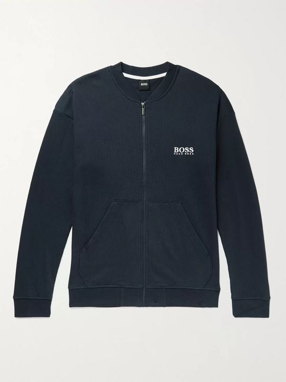 Hugo Boss Perforated Cotton Zip-Up Sweatshirt