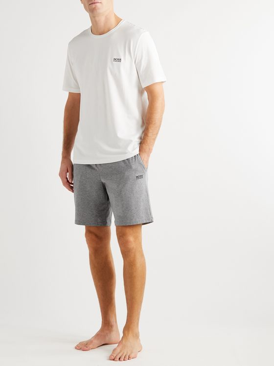 Hugo Boss Logo-Embroidered Mélange Stretch-Cotton Jersey Pyjama Shorts
