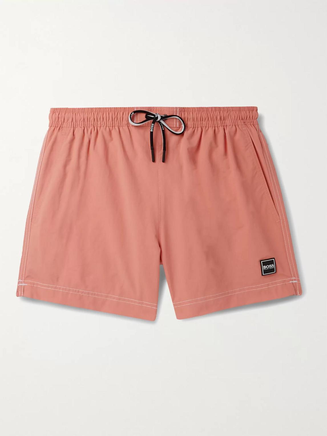 Hugo Boss Tuna Slim-fit Mid-length Swim Shorts In Orange