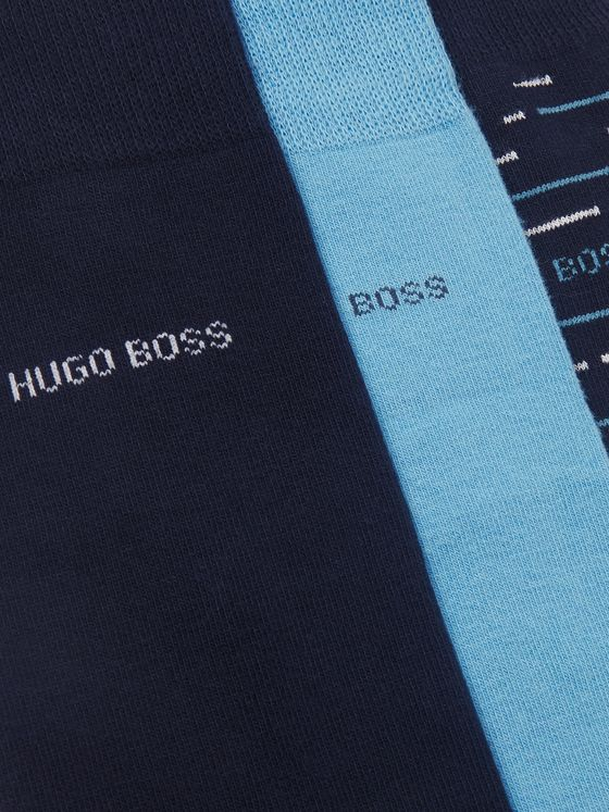 Hugo Boss Three-Pack Logo-Jacquard Cotton-Blend Socks
