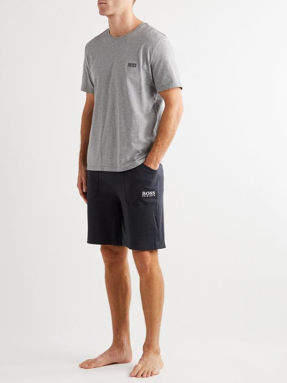 Hugo Boss Logo-Embroidered Waffle-Knit Cotton-Jersey Drawstring Shorts
