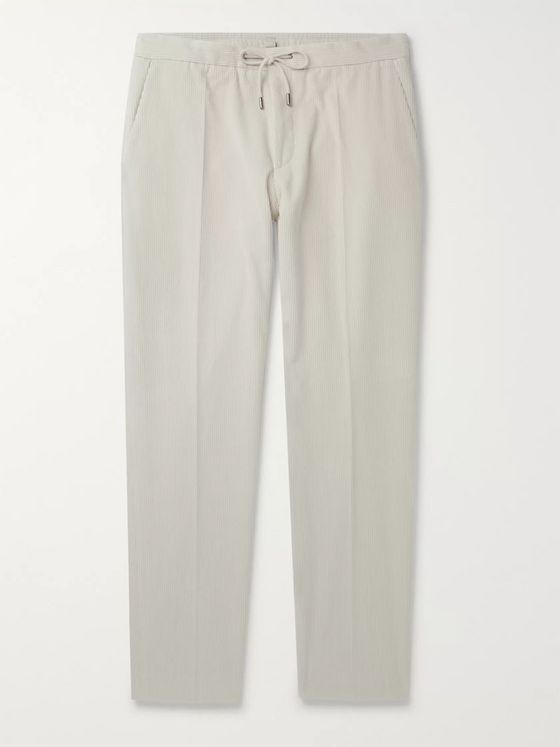 Hugo Boss Slim-Fit Tapered Cotton-Corduroy Drawstring Suit Trousers