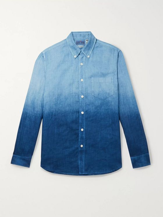Blue Blue Japan Slim-Fit Indigo-Dyed Two-Tone Linen-Chambray Shirt