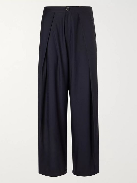 Blue Blue Japan Wide-Leg Pleated Wool-Blend Trousers