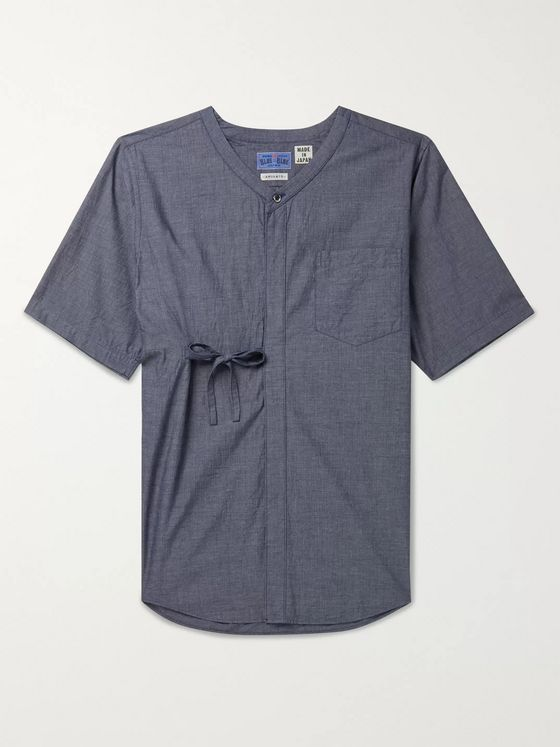 Blue Blue Japan Indigo-Dyed Grandad-Collar Mélange Cotton Shirt