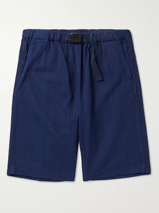 Blue Blue Japan Indigo-Dyed Belted Cotton-Jacquard Shorts