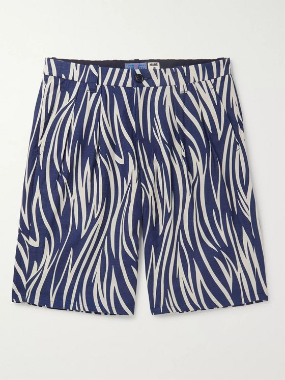 Blue Blue Japan Indigo-Dyed Printed Cotton Shorts