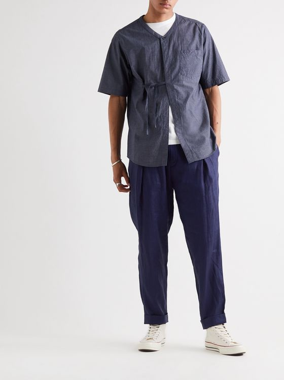 Blue Blue Japan Indigo-Dyed Tapered Pleated Linen Trousers
