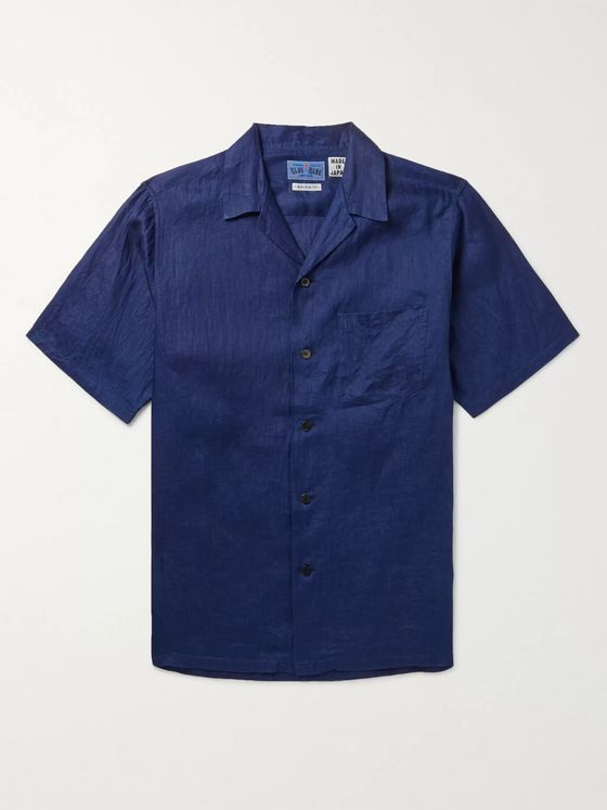 Blue Blue Japan Camp-Collar Indigo-Dyed Linen Shirt