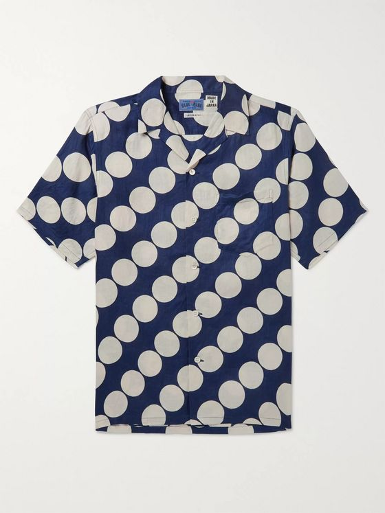 Blue Blue Japan Indigo-Dyed Camp-Collar Printed Linen Shirt