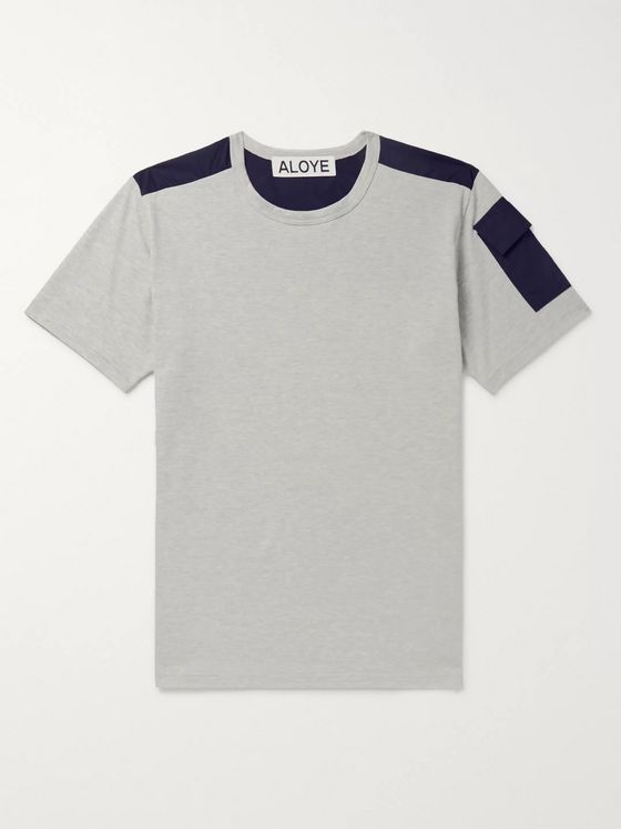 Aloye Panelled Mélange Cotton-Jersey T-Shirt