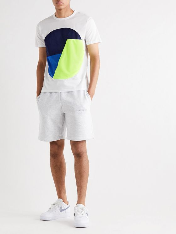 Aloye Colour-Block Mesh-Trimmed Cotton-Jersey T-Shirt