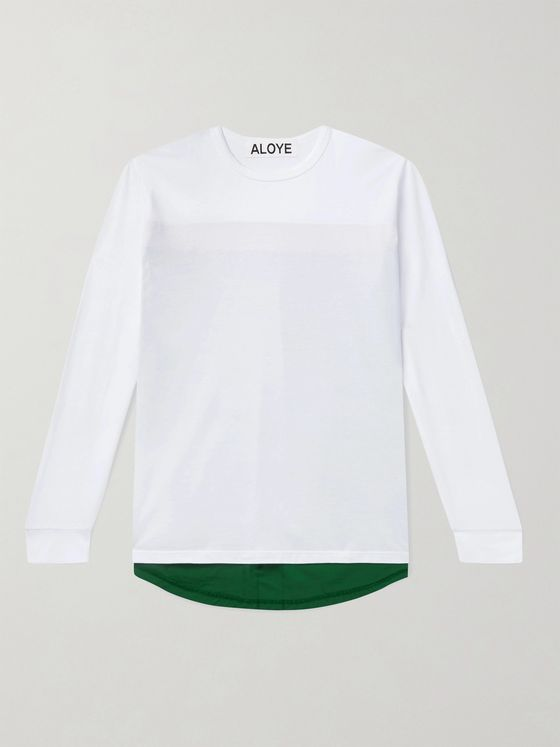 Aloye Colour-Blocked Poplin-Panelled Cotton-Jersey T-Shirt