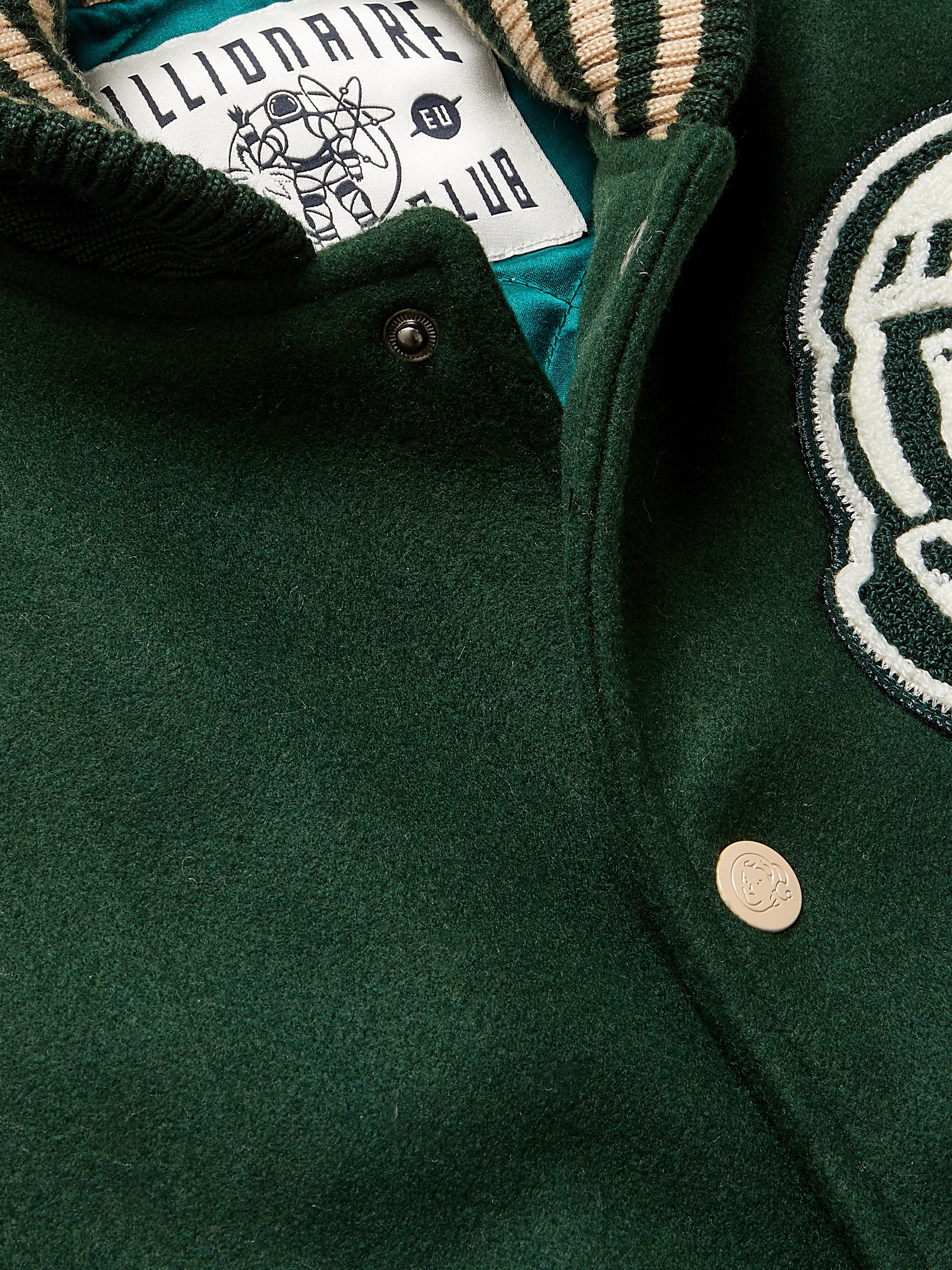 Green Appliquéd Quilted Felt Bomber Jacket | Billionaire Boys Club