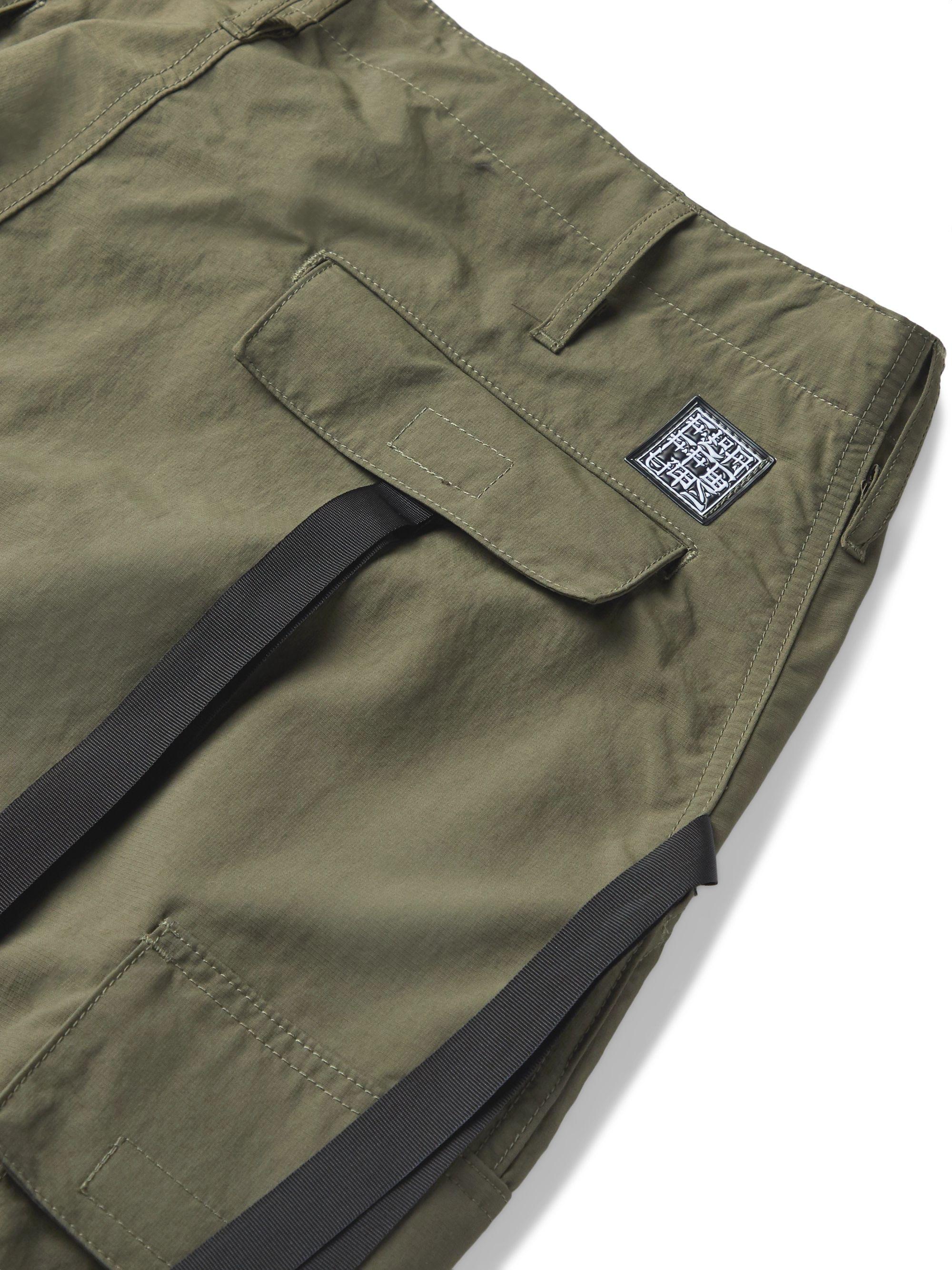 Army Green Wide-leg Webbing-trimmed Ripstop Cargo Trousers | Flagstuff