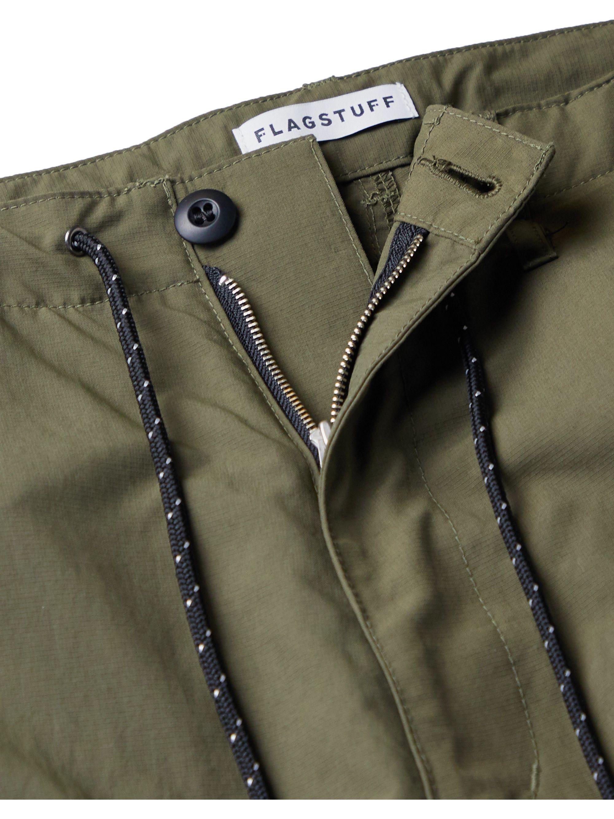 Army Green Wide-leg Webbing-trimmed Ripstop Cargo Trousers   Flagstuff
