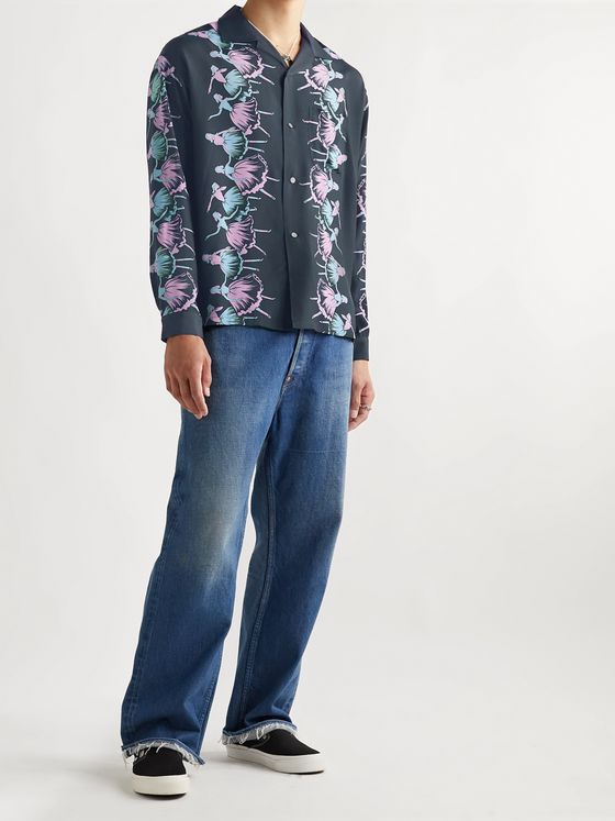 Flagstuff Camp-Collar Printed Woven Shirt