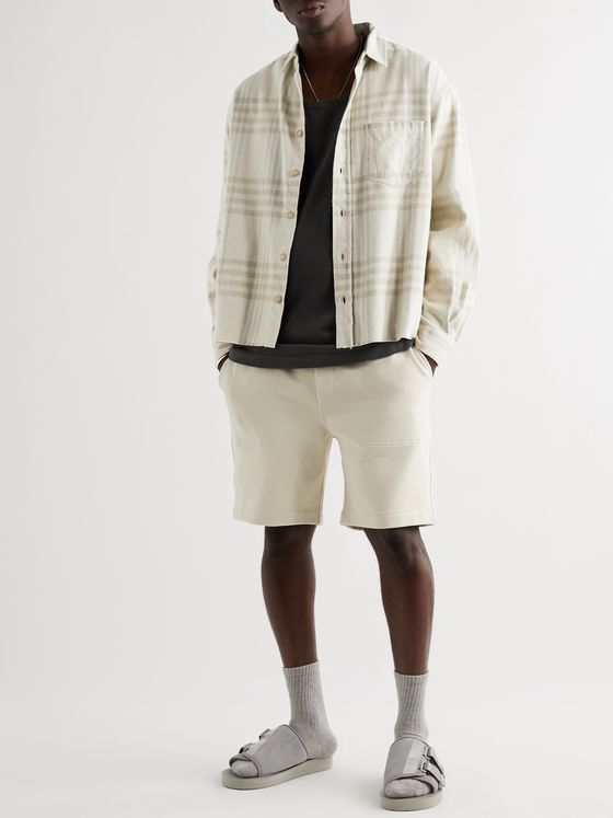 John Elliott Frayed Checked Cotton-Flannel Shirt