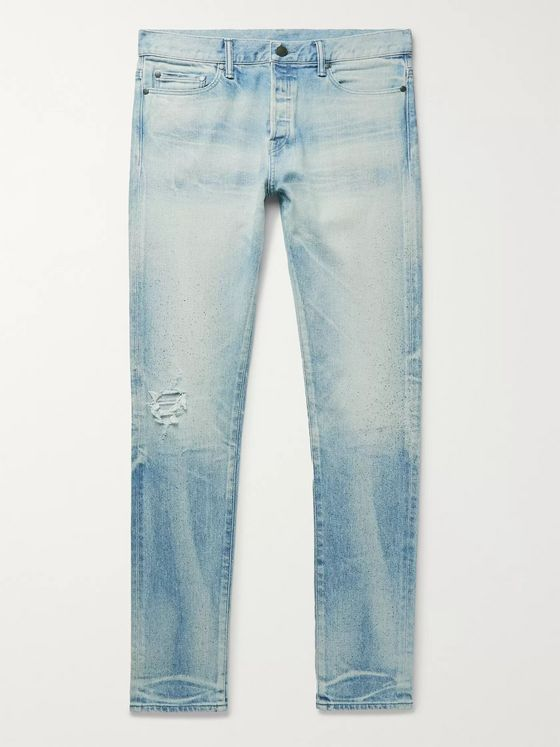 John Elliott The Cast 2 Skinny-Fit Paint-Splattered Distressed Denim Jeans