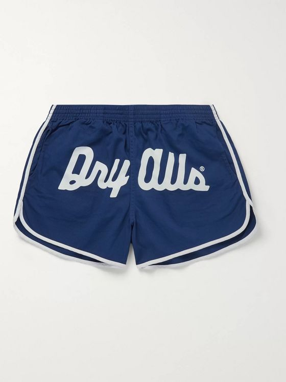 Human Made Logo-Embroidered Printed Cotton-Twill Drawstring Shorts