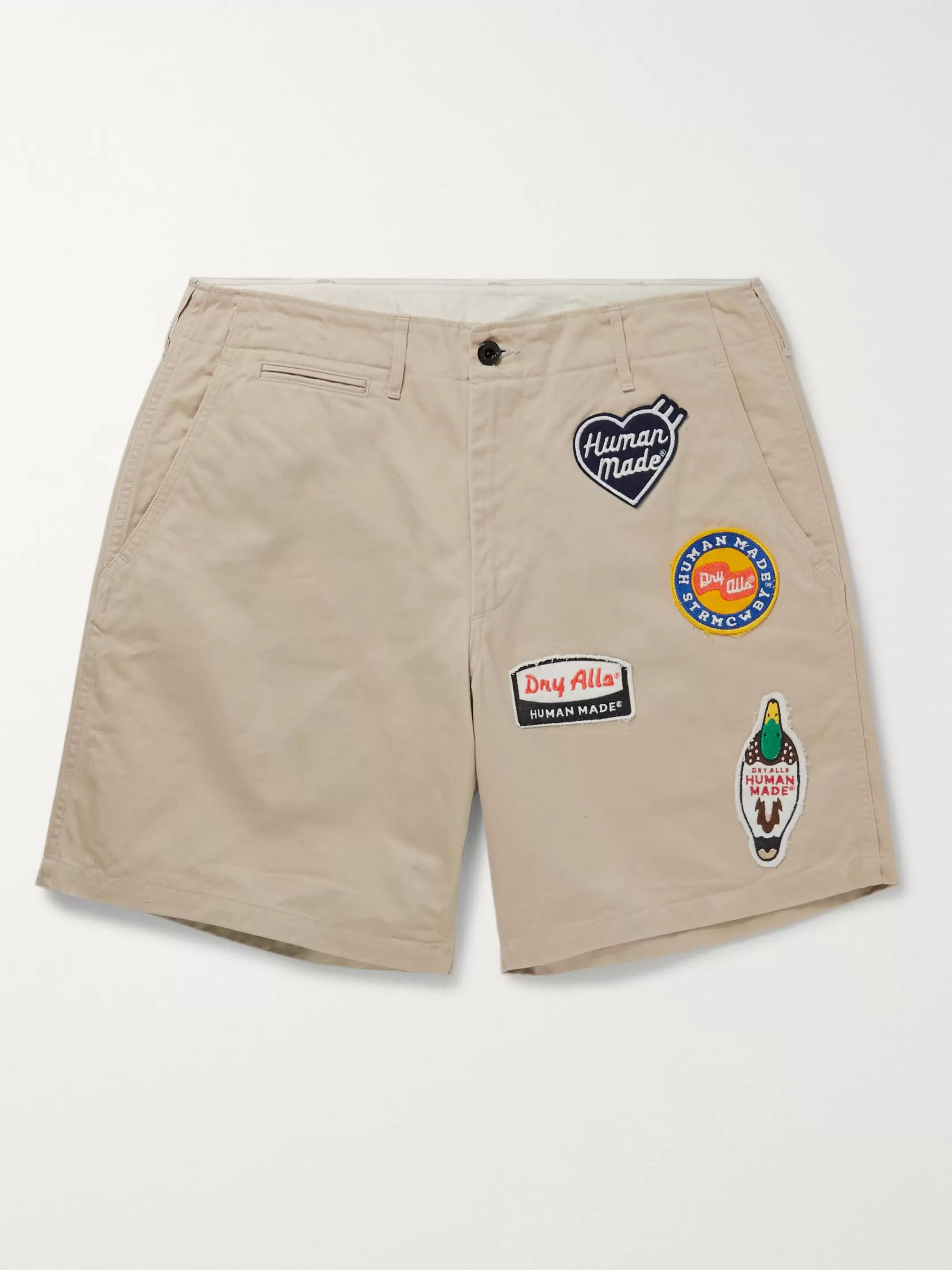 Human Made Wappen-Appliqued Cotton-Twill Chino Shorts,Beige