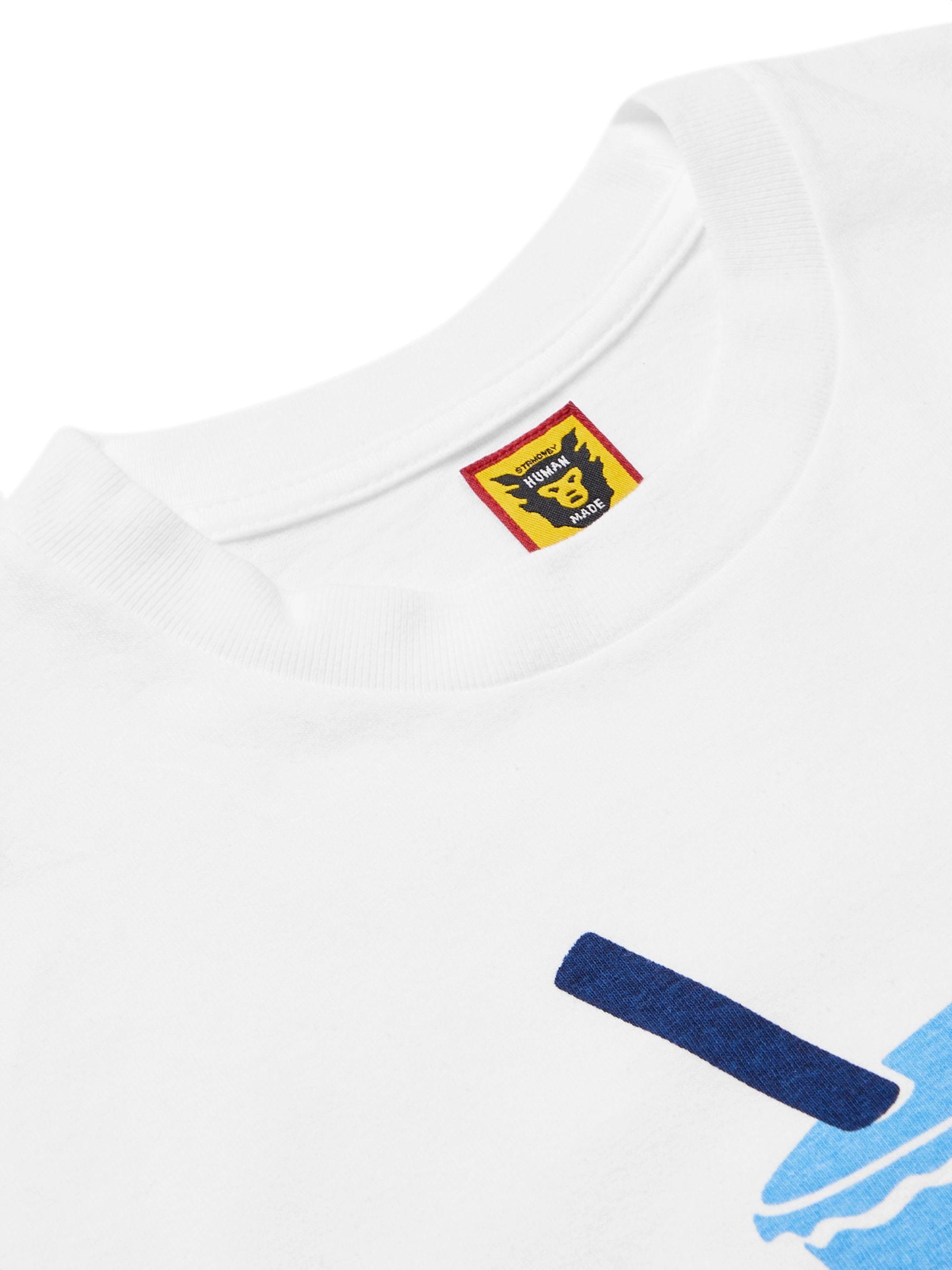 White Slim-fit Logo-print Cotton-jersey T-shirt | Human Made