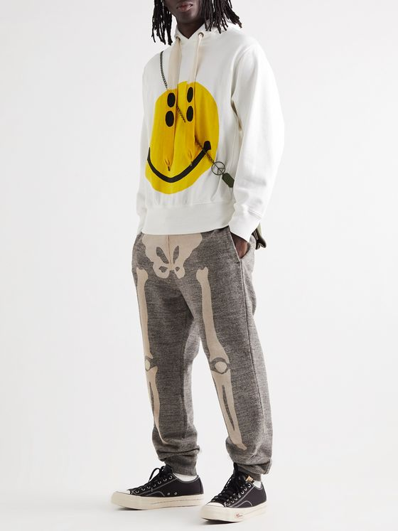 KAPITAL Gradrelle Tapered Printed Mélange Loopback Cotton-Jersey Sweatpants