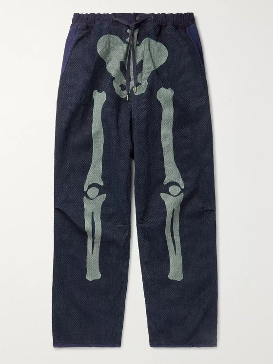 KAPITAL Dogi Indigo-Dyed Tapered Printed Cotton Trousers