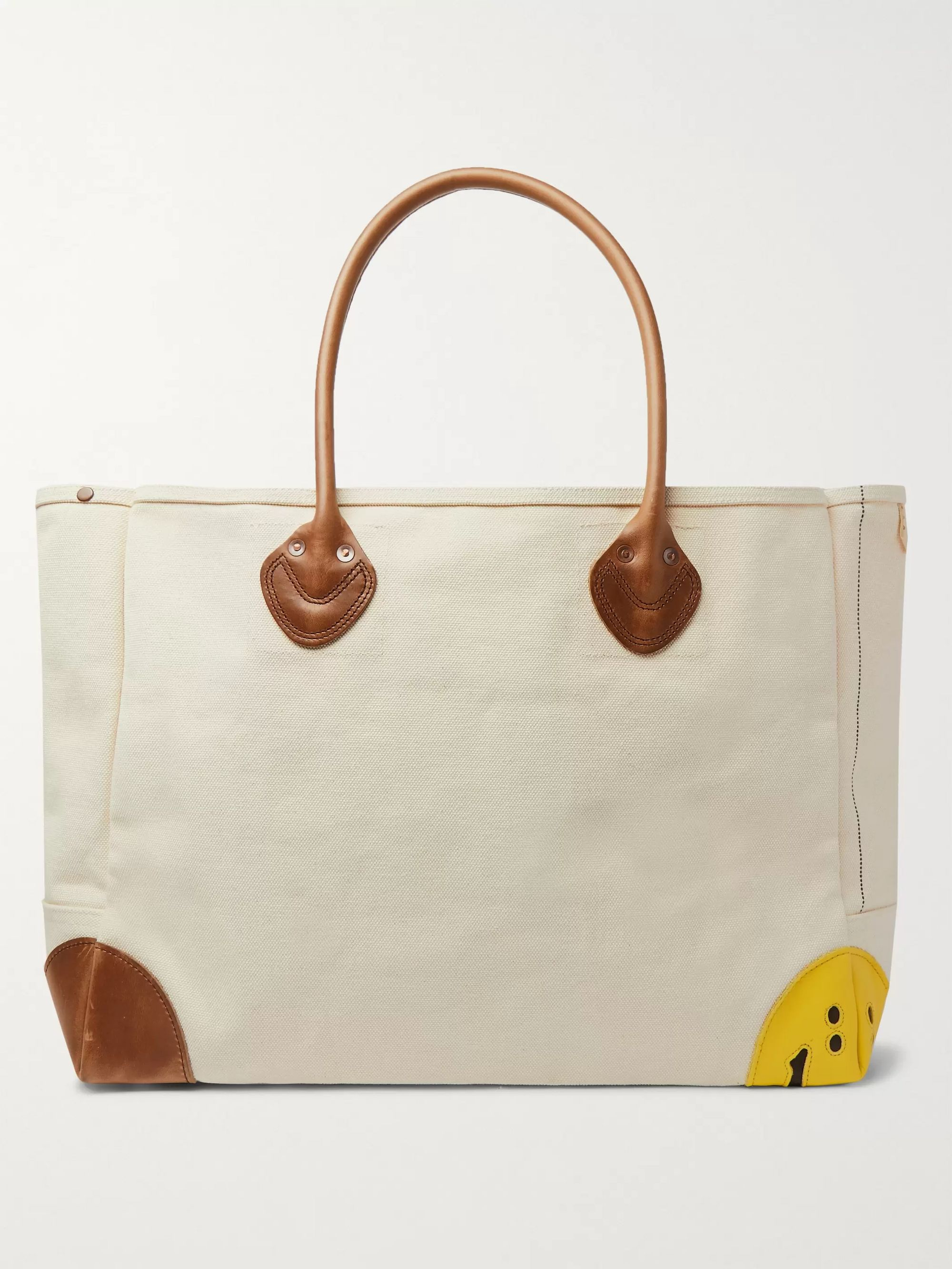 KAPITAL Smiley Leather-Trimmed Canvas Tote Bag