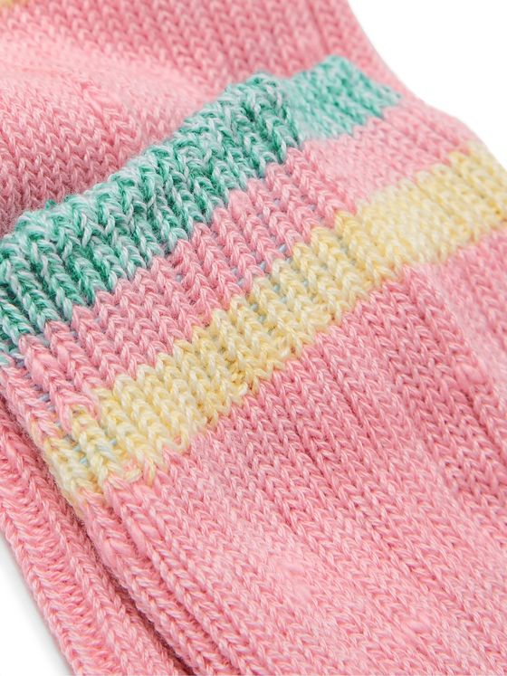 KAPITAL Ivy Smilie Striped Cotton and Hemp-Blend Socks