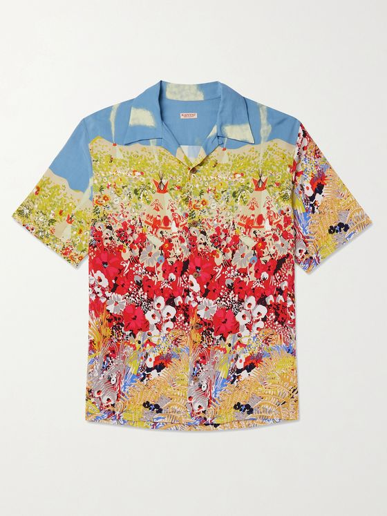 KAPITAL Aloha Camp-Collar Printed Crepe Shirt