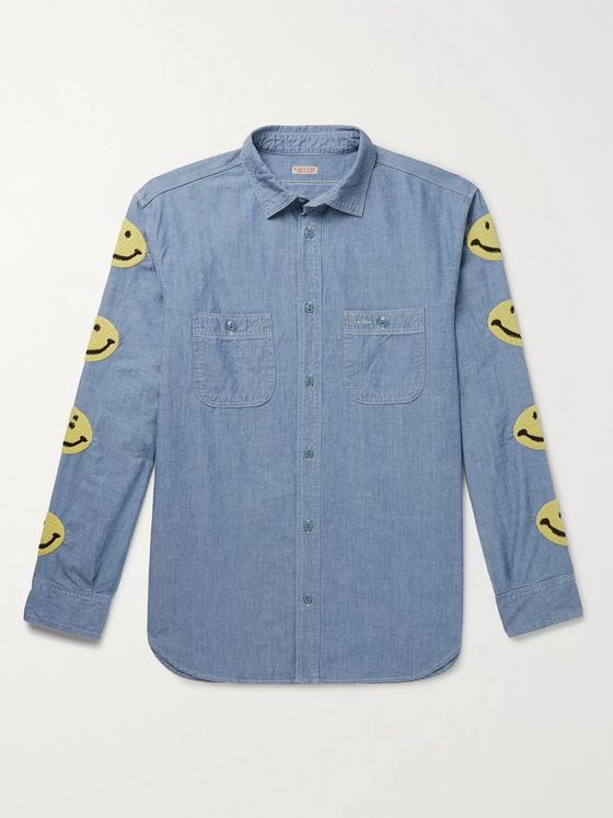 KAPITAL Embroidered Cotton-Chambray Shirt