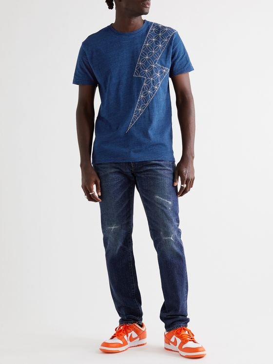 KAPITAL Embroidered Indigo-Dyed Cotton-Jersey T-Shirt