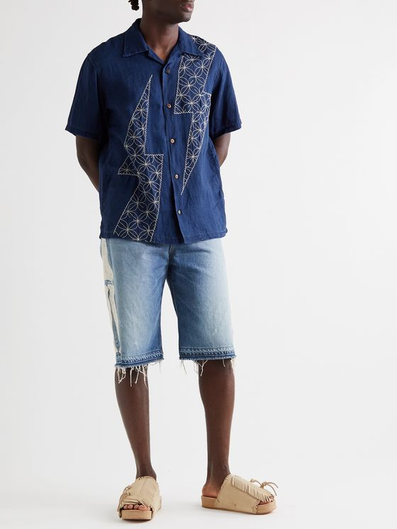 KAPITAL Camp-Collar Embroidered Inidigo-Dyed Linen Shirt
