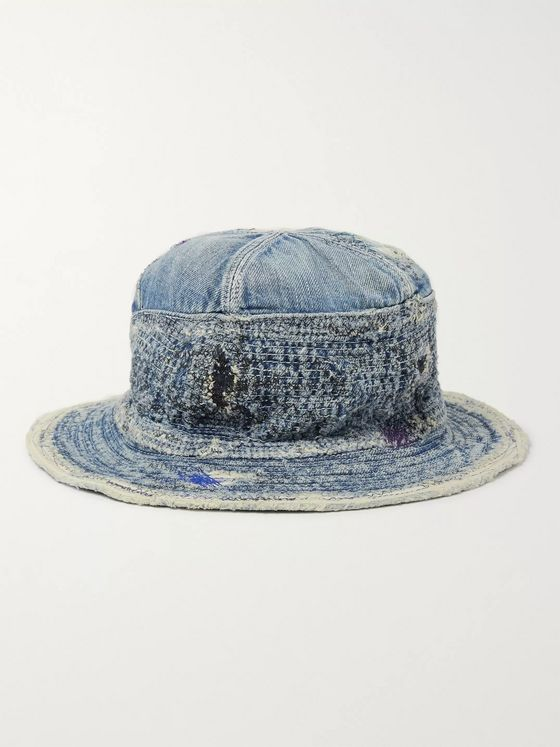 KAPITAL The Old Man and The Sea Distressed Denim and Cotton-Twill Bucket Hat
