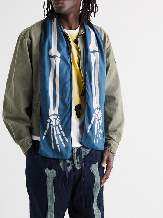 KAPITAL Printed Cotton-Gauze Scarf