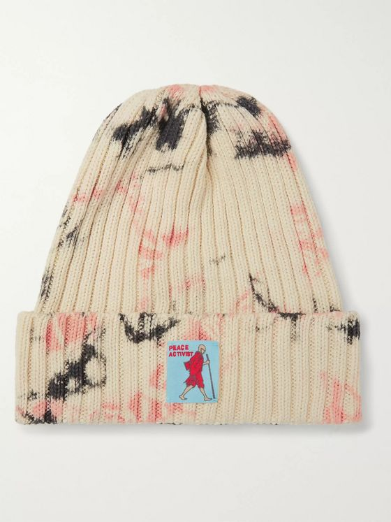 KAPITAL Ashbury Appliquéd Tie-Dyed Ribbed Cotton Beanie