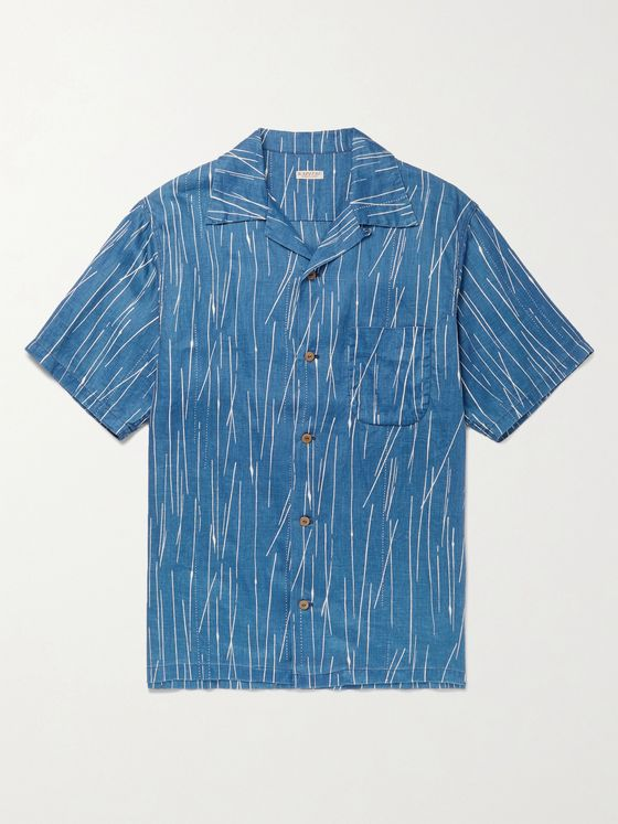 KAPITAL Camp-Collar Indigo-Dyed Linen Shirt