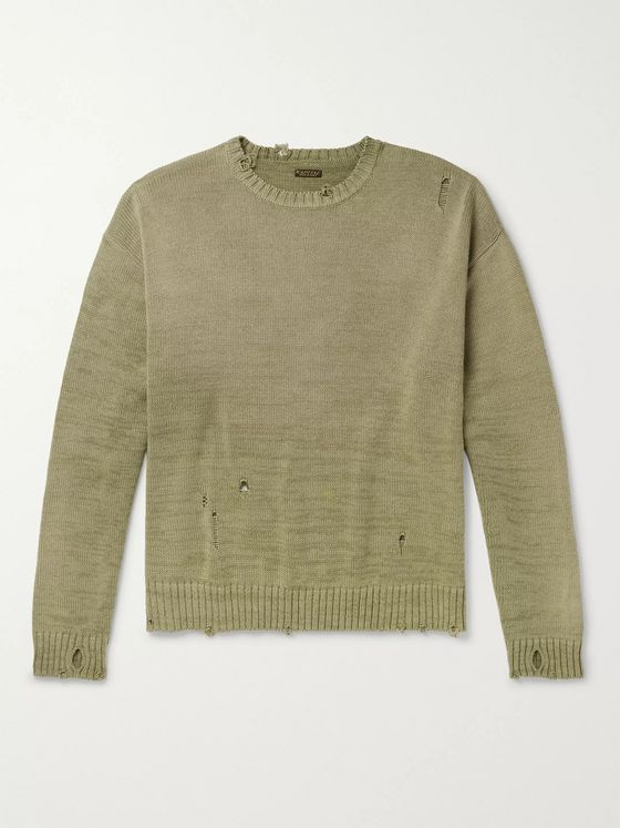 KAPITAL Distressed Intarsia Cotton-Blend Sweater
