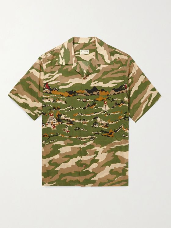 KAPITAL Camp-Collar Camouflage-Print Woven Shirt