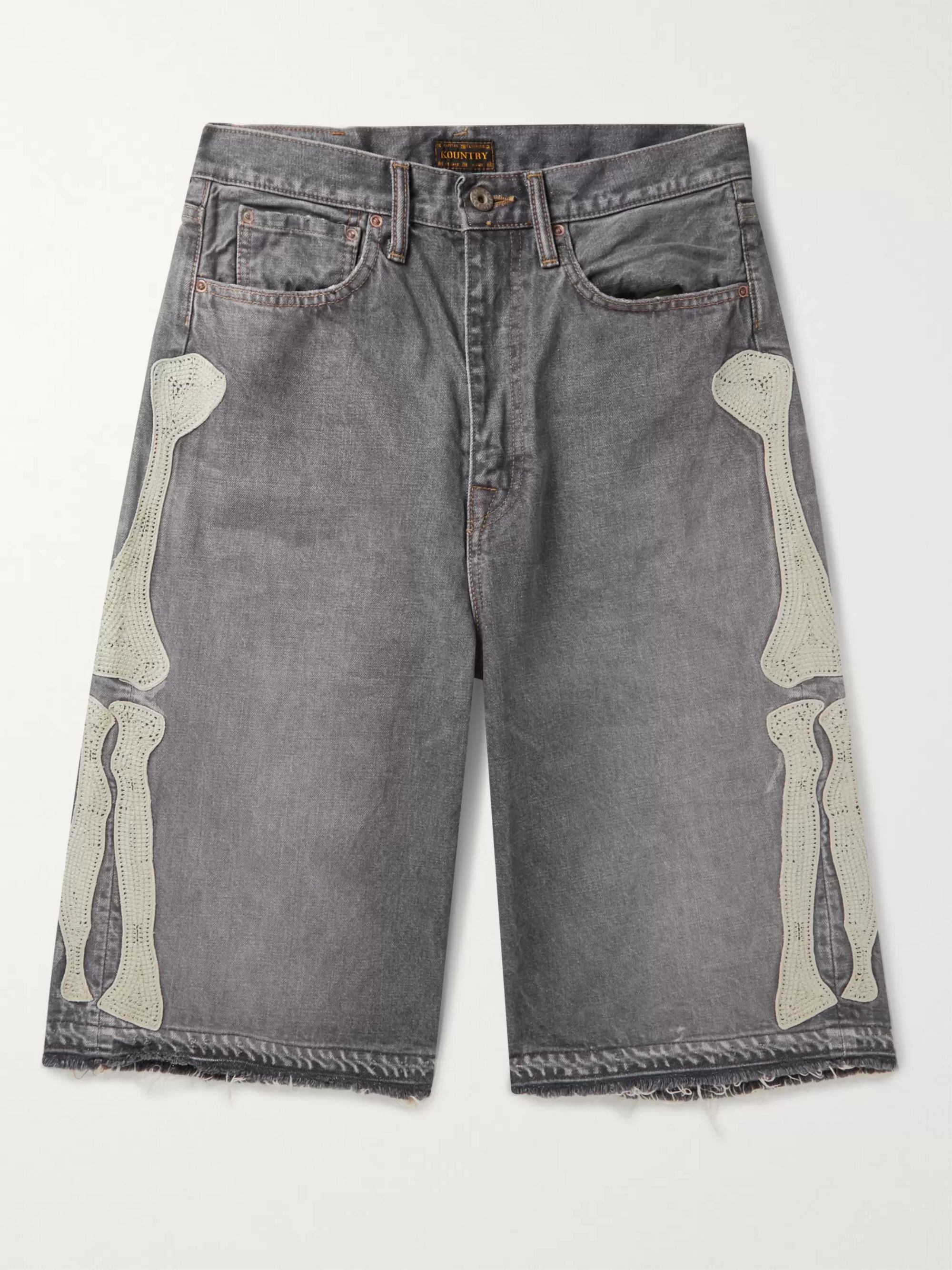 KAPITAL Distressed Appliquéd Denim Shorts