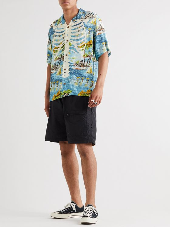 KAPITAL Camp-Collar Printed Crepe Shirt