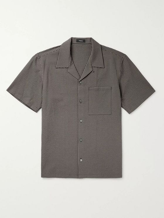 Theory Weldon Camp-Collar Checked Seersucker Shirt