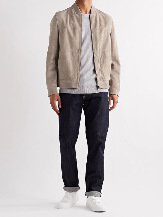 THEORY Fletcher Suede Bomber Jacket
