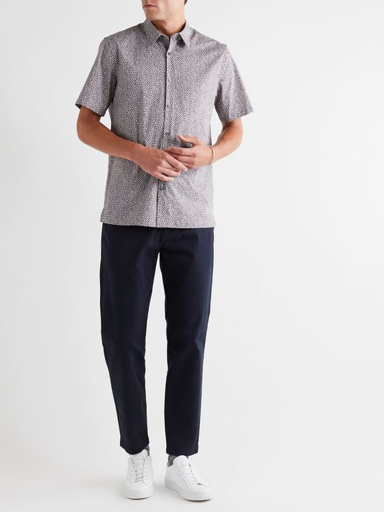 Theory Irving Printed Stretch-Cotton Shirt