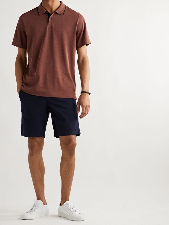 Theory Contrast-Tipped Mélange Pima Cotton-Blend Piqué Polo Shirt